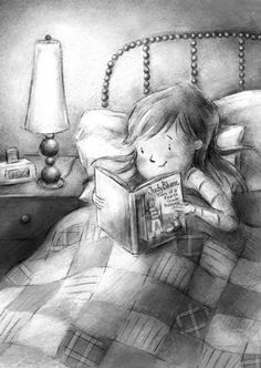 Bell Illustration and Design Little girl reading Judy Blume before bed. Reading Art, I Love Reading, Kids Reading, Reading Time, I Love Books, My Books, Books To Read, Children's Book Illustration, Illustrations