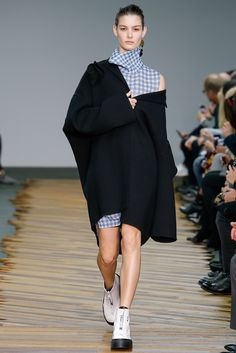 oversized black #coat x gingham print #dress :: Fall 2014 collection by #Celine