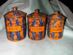 Set of Vintage French Enamelware Kitchen Canisters. from scottantiques on Ruby Lane