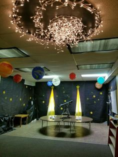 Galactic starveyors decor 2017 - great aluminum foil moon for space themed bulletin board - Outer Space Party, Outer Space Theme, Space Theme Classroom, Classroom Decor, Space Theme Decorations, Camping Decorations, Vbs Themes, Alien Party, Galaxy Theme