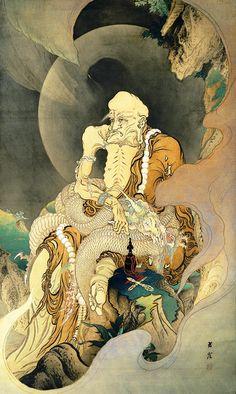 Arhat Subjugating a Dragon (1885) by Kanō Hōgai (1828 - 1888) (Kanô Hôgai)