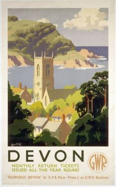 An poster sized print, approx (other products available) - Great Western Railway poster. Artwork by Alker Tripp.<br> - Image supplied by National Railway Museum - poster sized print mm) made in Australia Posters Uk, Train Posters, Railway Posters, 1950s Posters, Fine Art Prints, Framed Prints, Canvas Prints, Devon, Poster Shop