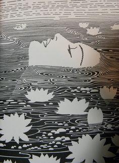 Lotus Dreams ~Don Blanding . I Believe So Sincerely At the time that I believe What I believe I'm believing. Illustration and poem by Don Blanding Art And Illustration, Gravure Illustration, Illustrations, Kunst Inspo, Art Inspo, Linocut Prints, Art Prints, Art Graphique, Art Plastique
