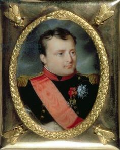 J. Parent - Napoleon Bonaparte (1769-1821). WaterColour on Ivory in Gilt Frame with Bees. Circa 1815. 6.1cm x 4.9cm.