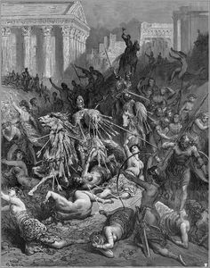 Gustave Doré (engravings), Orlando Furioso (The Frenzy of Orlando, more literally Mad Orlando); illustrations for the epic poem by Ludovico Ariosto, Grant & Co. Gustave Dore, Arte Horror, Wood Engraving, Gothic Art, Old Art, Illustrations And Posters, French Artists, Dark Art, Printmaking
