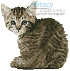 Artecy Cross Stitch. Mini Timid Kitten Cross Stitch Pattern to print online.