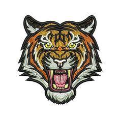 Embroidery design  Tiger face Diseños para bordado Tigre rostro Ponchado, Picaje, Matriz para bordado #embroidery #tiger #bordado