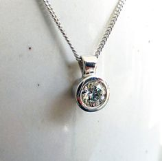 Diamond solitaire pendant necklace 0.32ct by karenjohnsondesign
