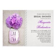Rustic Burlap Mason Jar Purple Bridal Shower Invitations