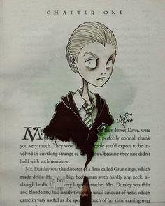 Draco malfoy by alef vernon tim burton inspired Arte Tim Burton, Tim Burton Art Style, Tim Burton Artwork, Tim Burton Stil, Tim Burton Drawings, Tim Burton Kunst, Slytherin, Hogwarts, Draco Malfoy