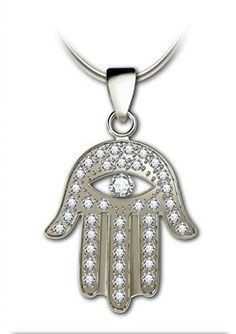 925 Sterling Silver Hamsa pendant Evil Eye Pendant with White Pave Set Cubic Zirconia Gemstones 18 *** Click image to review more details.