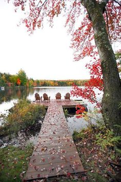 Relaxing Adirondack chairs at the autumn lake