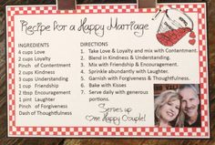 A Recipe For a Happy Marriage -
