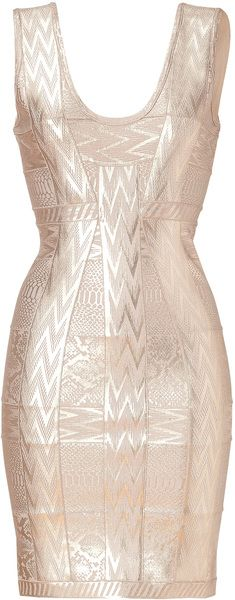 LOVE!LOVE!LOVE!!!!! Herve Leger ROse pink Rose Metallic Printed Bandage Dress - Lyst
