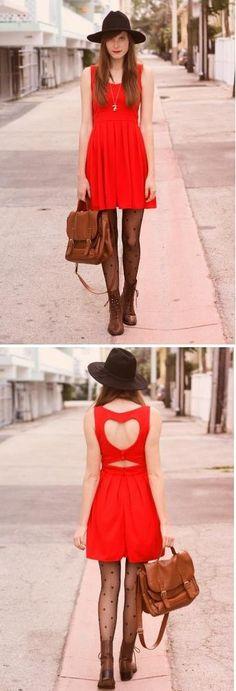 Tiffany Singer: Heart Cut Out Pleated Dress in Red #Lockerz