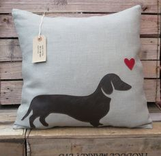 Leather Dachshund Sausage Dog Cushion/Pillow by BaggyFitted, £30.00