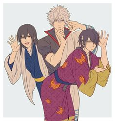 Katsura, Gintoki and Takasugi Manhwa, Gintama Wallpaper, Silver Samurai, Fanart, Okikagu, Free Anime, Cartoon Shows, Me Me Me Anime, Manga Anime
