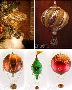 DIY Steampunk Hot Air Balloons from EPBOT. Top Photos: Make DIY miniature hot air balloons from Christmas ornaments and a filigree element. Tutorial from EPBOT here. *This is Jen's improved version of her wicker basket hot air balloons. Bottom...