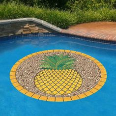 Created with the appearance of a tiled    mosaic, this Pineapple Pool Mat adds a welcoming presence to your outdoor living space. Made with a heavier vinyl than others, it easily holds in place by    gravity and water pressure so no need for adhesives. Simply place the mat on the pool water surface, let the mat sink to the bottom then flatten as    necessary. Peel off for removal. For routine pool cleaning, it doesn need to be moved.            Brightly colored, realistic 3D mosaic…