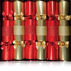 Our beautiful red and gold band crackers! Perfect for a sparkly Christmas table!