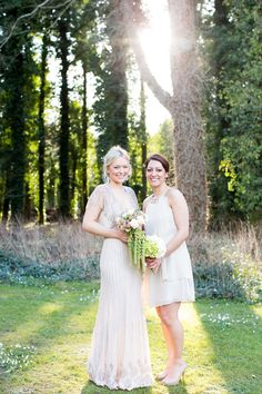 Tori in Jenny Packham and bridesmaid in gold glitter and ivory by Coast