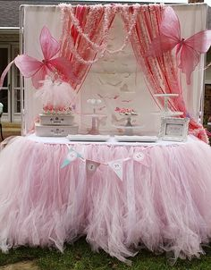 beautiful pink fairy party Like the idea of tulle as the table border. Can layer pink and green for garden.