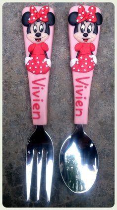 Minny Mouse children cutlery. Facebook: Evőeszközök Egyedi Inda. Polymer clay