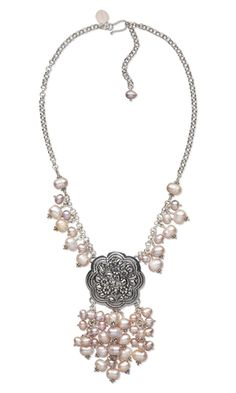 Single-Strand Necklace with Sterling Silver Focal and Cultured Freshwater Pearls