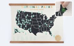 National Parks Checklist Map Print
