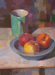 """Beautiful new still life by Louis Escobedo - this is """"Fruit Plate"""" 12 x 9 Oil. Simple Oil Painting, Still Life Oil Painting, Fruit Painting, Oil Painting Flowers, Oil Painting Abstract, Watercolor Artists, Watercolor Illustration, Painting Art, Watercolor Painting"""