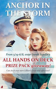 """Announcing the Anchor in the Storm All Hands on Deck Prize Pack Giveaway! Includes signed copy of the book, an anchor necklace, tote bag, """"365 Devotions for Hope,"""" coloring book, journal, and tea towels! Giveaway runs May 19-June 8, 2016. Details and entry on the LitFuse Publicity Group website."""