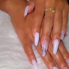 Bling Acrylic Nails, Acrylic Nails Coffin Short, White Acrylic Nails, Acrylic Toes, Coffin Nails Ombre, Glitter Acrylics, Long Square Acrylic Nails, Milky Nails, Fire Nails