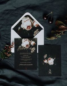 dark floral wedding invitations with a white envelope for a contrast and an.Edgy dark floral wedding invitations with a white envelope for a contrast and an. Floral Invitation, Floral Wedding Invitations, Wedding Stationary, Invitation Suite, Invites, Halloween Wedding Invitations, Halloween Weddings, Event Invitations, Invitations Online