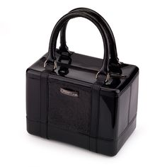Satchel handbag in solid PVC with metal plate