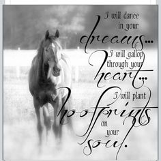 Dreams, heart, hoofprints and soul with the love of horses. Equine Quotes, Equestrian Quotes, All The Pretty Horses, Beautiful Horses, Simply Beautiful, Horse Girl, Horse Love, Inspirational Horse Quotes, Horse Riding Quotes