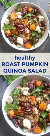 Roast Pumpkin Quinoa Salad with Feta, beetroot, mixed green leaves, and toasted sunflower and pumpkin seeds drizzled with a light balsamic vinegar and hone Pumpkin And Beetroot Salad, Pumpkin Quinoa Salad, Roast Pumpkin Salad, Best Salad Recipes, Vegetarian Recipes, Healthy Recipes, Easy Salads, Summer Salads, Quinoa Salat Feta