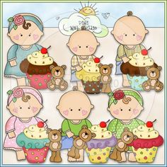 Barefoot Babies Sweet Little Cupcakes - NE Cheryl Seslar ClipArt : Digi Web Studio, Clip Art, Printable Crafts & Digital Scrapbooking!