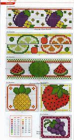 ♥Meus Gráficos De Ponto Cruz♥: Barrinhas com Frutas e Legumes em Ponto Cruz