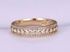 Items similar to Three row diamond engagement ring solid rose gold wedding band eternity diamond ring,stacking matching band promise ring bridal ring on Etsy Diamond Stacking Rings, Eternity Ring Diamond, Diamond Engagement Rings, Wedding Rings Rose Gold, Bridal Rings, Ring Verlobung, Beautiful Rings, Jewelry Rings, Solid Gold