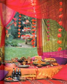 Love the lush colors, Indian decor and low seating; super cozy and inspiring!