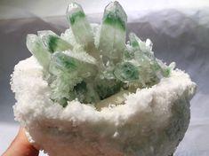 New Find crystals of crystal & green ghost quartz crystals ClusterSpecimen Crystals Minerals, Rocks And Minerals, Stones And Crystals, Green Quartz, Jehovah, Natural Crystals, Quartz Crystal, Gemstones, Amazing