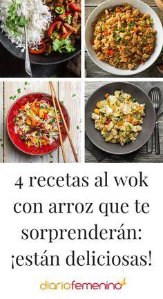 Deliciosas recetas que puedes hacer al wok con arroz. ¡Para chuparse los dedos! ¡Ñam, ñam! 😋 #recetas #recipes #recetasalwok #recetassaludables #DiarioFemenino Polenta, Quinoa, Risotto, Sushi, Clean Eating, Health Fitness, Menu, Gluten Free, Tasty