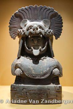 Zapotec statue in the museum, Monte Alban, Oaxaca, Mexico