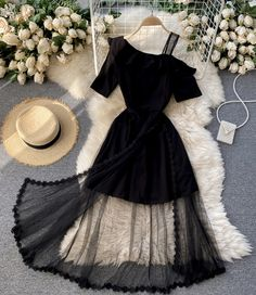 Stylish Dresses For Girls, Stylish Outfits, Cute Dresses, Casual Dresses, Summer Dresses, Black One Shoulder Dress, Lace Dress Black, Indian Fashion Dresses, Fashion Outfits