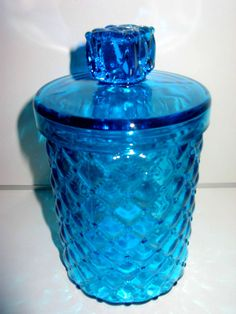 "RARE Vintage Smith Glass 7 7/8"" Boutique Blue Diamond Quilt Canister Jar Finial"