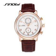 2016 SINOBI Famous Brand Luxury Quartz Men's Watch Casual Fashion Leather Elegant Noble Waterproof High Quality Wristwatch