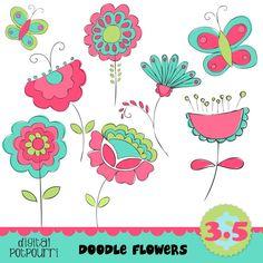 flower clipart set - doodle flowers 1 buy2get1. $3.50, via Etsy.