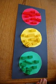 "Transportation Theme (use vehicle counters) – Story Time ""Red Light, Green Light"" with activities (sorting, patterns, charting & name practice)"