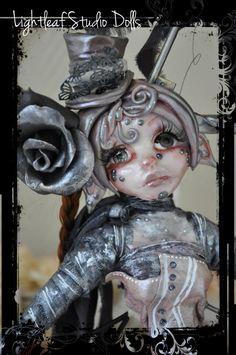 Cold porcelain art doll Tightrope walker by LightLeafStudio
