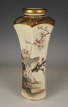 Satsuma Vase with Villagers and Manchurian Cranes